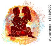 couple practicing tantra yoga   Shutterstock .eps vector #684369370