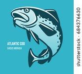 atlantic cod fish. gadus morhua.... | Shutterstock .eps vector #684376630
