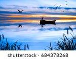 blue sunset | Shutterstock . vector #684378268