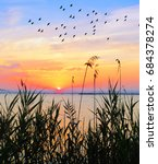 sunset of colors on the water... | Shutterstock . vector #684378274