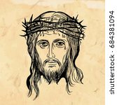 son of god jesus christ  with a ... | Shutterstock .eps vector #684381094