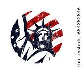 liberty statue vector logo... | Shutterstock .eps vector #684382846
