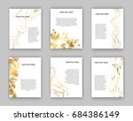 set of white and gold flyers.... | Shutterstock .eps vector #684386149