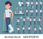 set of various poses of flat... | Shutterstock .eps vector #684390850
