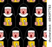 nun seamless pattern. catholic... | Shutterstock .eps vector #684397783
