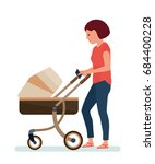 a woman with a stroller  with... | Shutterstock .eps vector #684400228