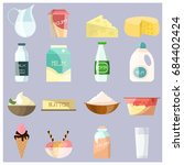 vector set of dairy products... | Shutterstock .eps vector #684402424