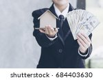 real estate agent showing new... | Shutterstock . vector #684403630
