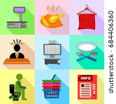 supermarket promotion icons set ... | Shutterstock .eps vector #684406360