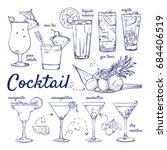 doodle set of cocktails   pina... | Shutterstock .eps vector #684406519