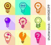 different bulbs with pictogram... | Shutterstock .eps vector #684408199