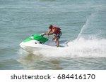 water ski at teluk bahang jetty ...   Shutterstock . vector #684416170