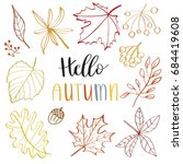 autumn leaf set   vector... | Shutterstock .eps vector #684419608