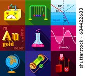 scientific experience icons set ... | Shutterstock .eps vector #684422683