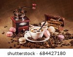 coffee still life with vintage... | Shutterstock . vector #684427180