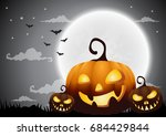 halloween night background with ... | Shutterstock .eps vector #684429844