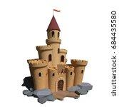 3d cartoon medieval castle | Shutterstock . vector #684435580