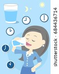 woman drinking water all day | Shutterstock .eps vector #684436714
