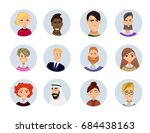 set of diverse round avatars... | Shutterstock .eps vector #684438163