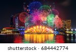 firework display in singapore. | Shutterstock . vector #684442774