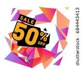 summer sale memphis style web... | Shutterstock .eps vector #684443413
