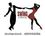 young couple silhouette dancing ... | Shutterstock .eps vector #684446086