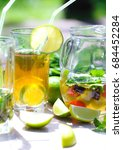 summer tea with berries and...   Shutterstock . vector #684452284