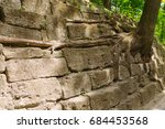 ancient stone wall with tree...   Shutterstock . vector #684453568