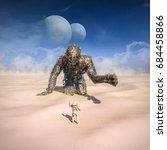 giant in the desert   3d...   Shutterstock . vector #684458866