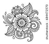 mehndi flower pattern for henna ... | Shutterstock .eps vector #684472570