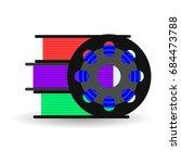 flat spool for 3d printer ... | Shutterstock . vector #684473788