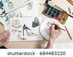 fashion designer mixes colours... | Shutterstock . vector #684483220