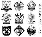 vintage baseball vector labels... | Shutterstock .eps vector #684484846