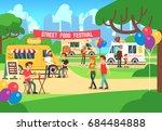 cartoon street food festival... | Shutterstock .eps vector #684484888