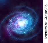 Spiral galaxy in outer space with starry blue sky vector illustration. Spiral galaxy in night starry sky
