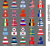 flag icon set. national flags... | Shutterstock .eps vector #684489400