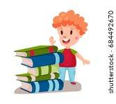 cute redhead boy standing next... | Shutterstock .eps vector #684492670