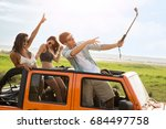 happy cheerful friends taking a ... | Shutterstock . vector #684497758