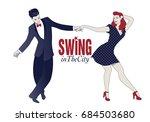 young couple dancing swing ... | Shutterstock .eps vector #684503680