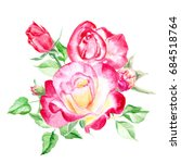 bouquet of  pink roses. rose... | Shutterstock . vector #684518764