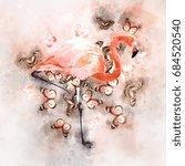 watercolor flamingo and... | Shutterstock . vector #684520540