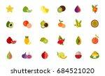 fruit variety icon set | Shutterstock .eps vector #684521020