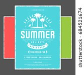 retro summer party design... | Shutterstock .eps vector #684521674