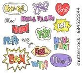 set of cute words in doodle... | Shutterstock .eps vector #684522244
