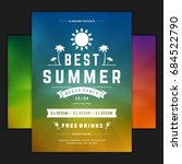 retro summer party design... | Shutterstock .eps vector #684522790