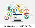 live chat. online chat with... | Shutterstock .eps vector #684524236