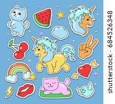 fashion cute patches  stickers... | Shutterstock . vector #684526348