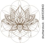 lotus flower . sacred geometry. ... | Shutterstock .eps vector #684535843