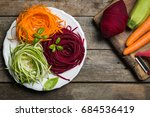 vegetable noodles   zucchini ... | Shutterstock . vector #684536419