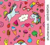 vector seamless pattern pink... | Shutterstock .eps vector #684540934